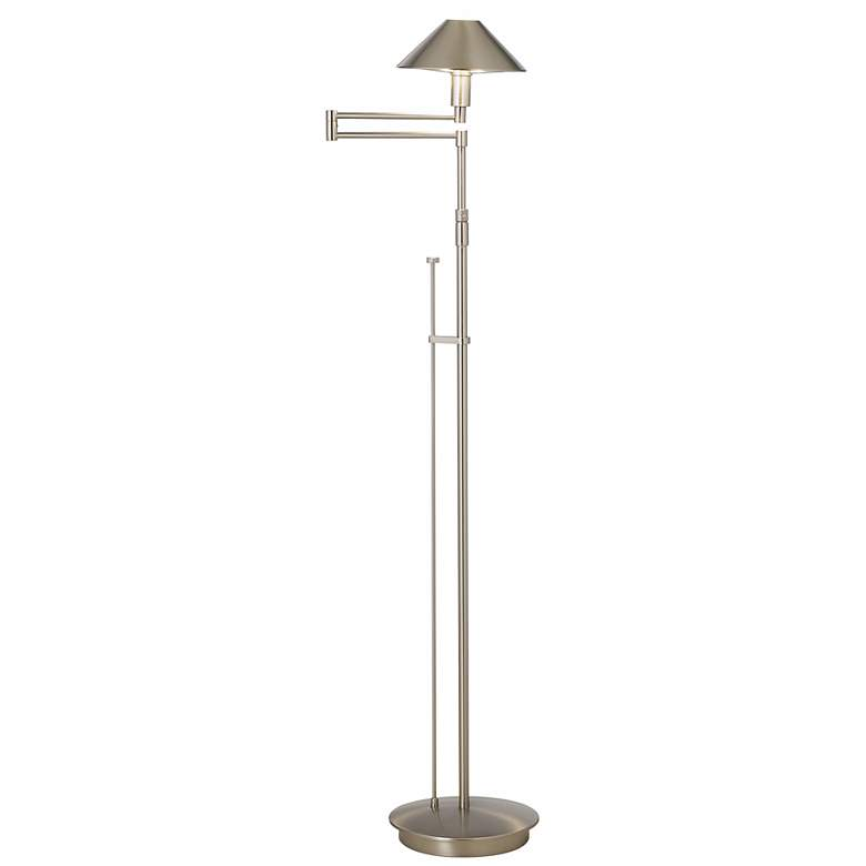 Holtkoetter Satin Nickel Adjustable Swing Arm Floor Lamp