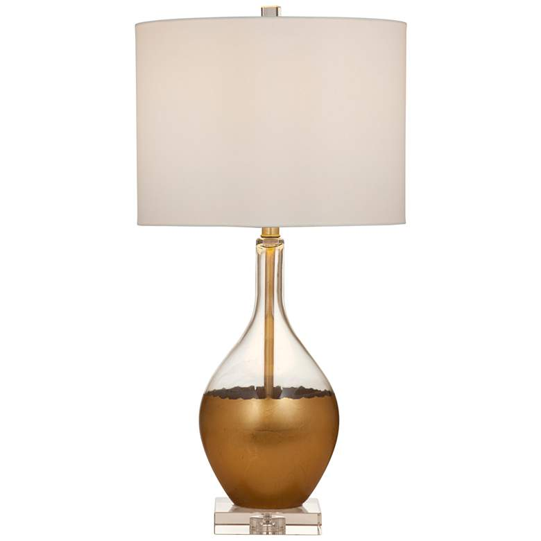 Ambrose Gold Leaf and Clear Crystal Table Lamp