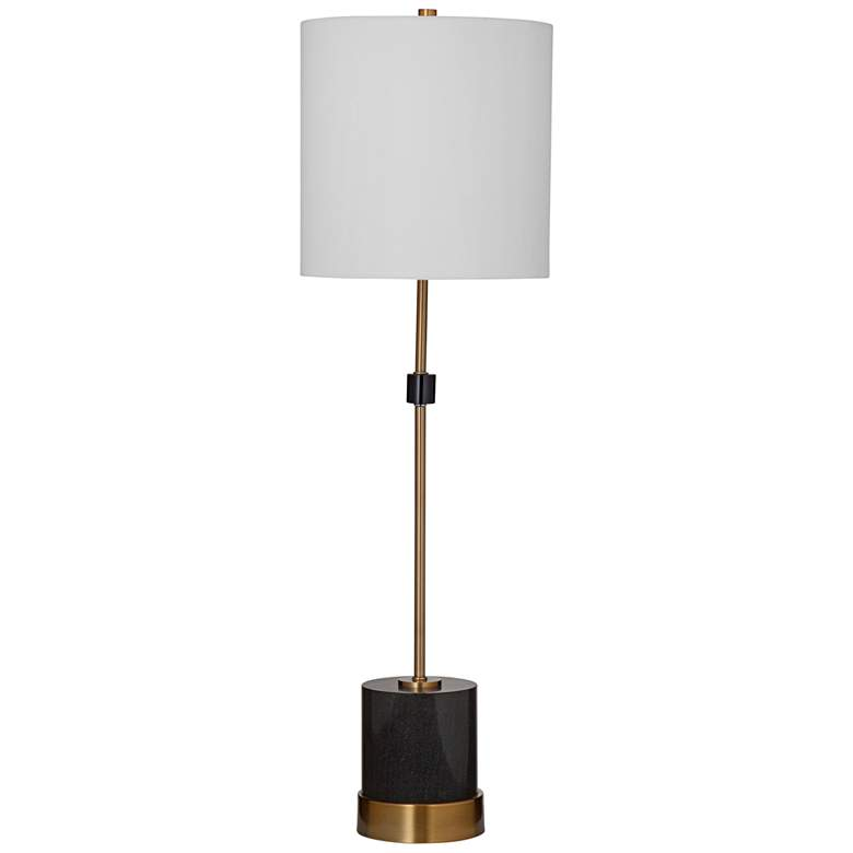 Ogden Black Marble and Brass Metal Rod Table Lamp