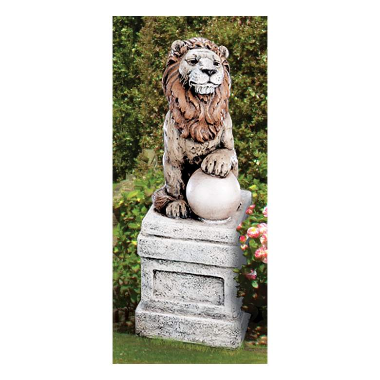 "Castle Lion on Orb Left Facing 25""H Hi-Tone Outdoor Statue"
