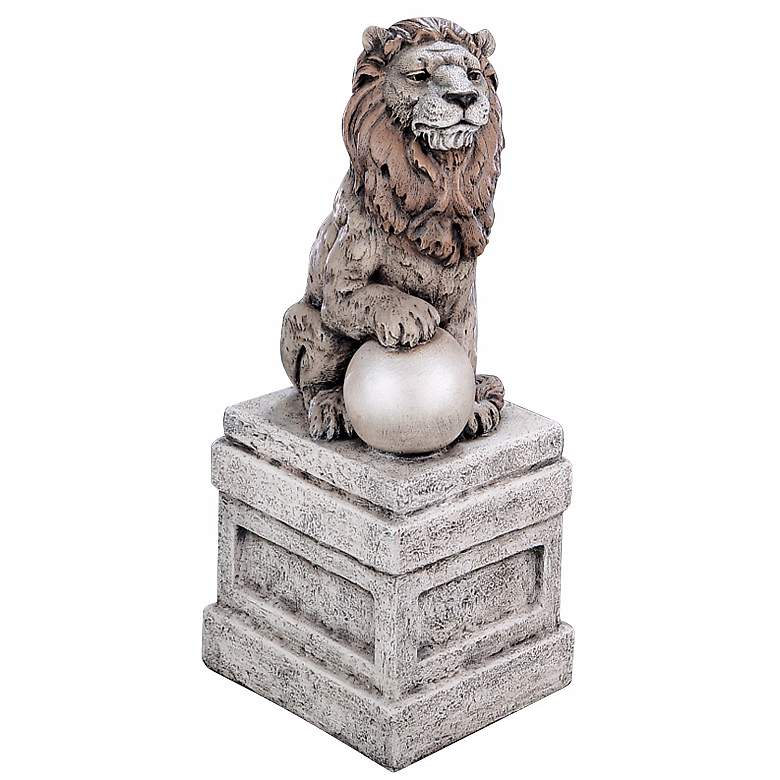 """Castle Lion on Base Right Facing 25"""" High Garden Accent"""