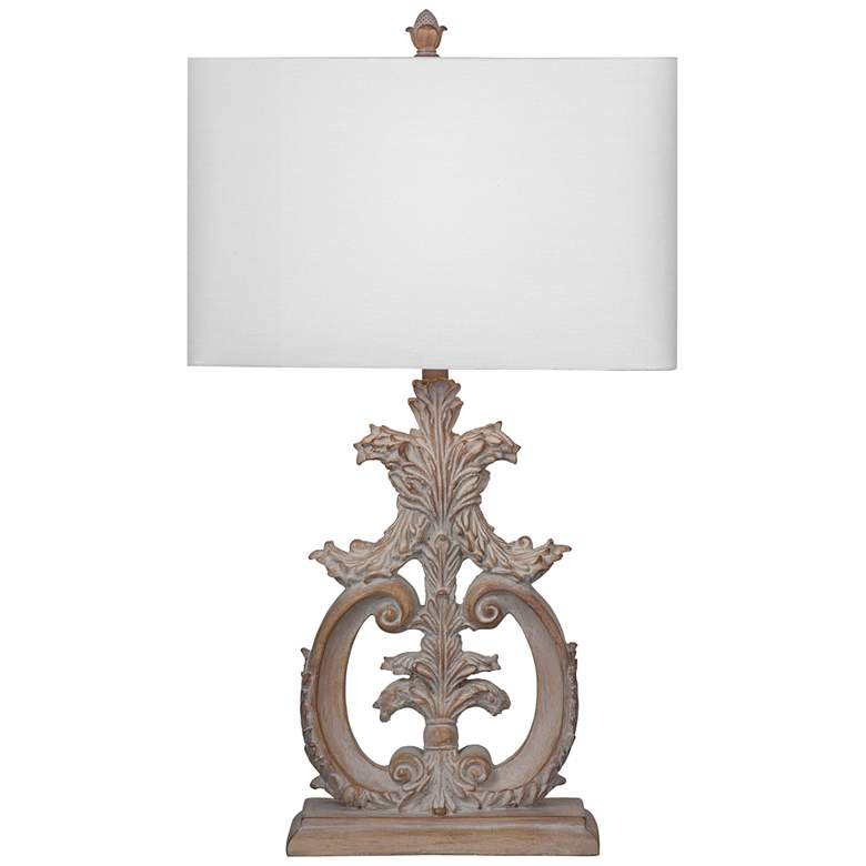 Abigail Beige and White Wash Ornate Table Lamp