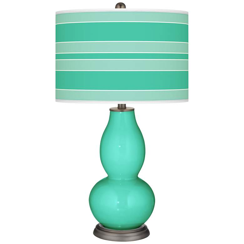 Turquoise Bold Stripe Double Gourd Table Lamp