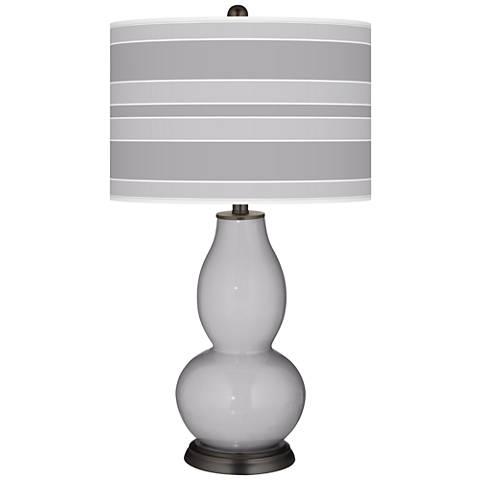 Swanky Gray Bold Stripe Double Gourd Table Lamp