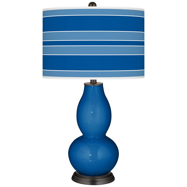 Hyper Blue Bold Stripe Double Gourd Table Lamp