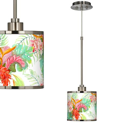 Island Floral Giclee Glow Mini Pendant Light