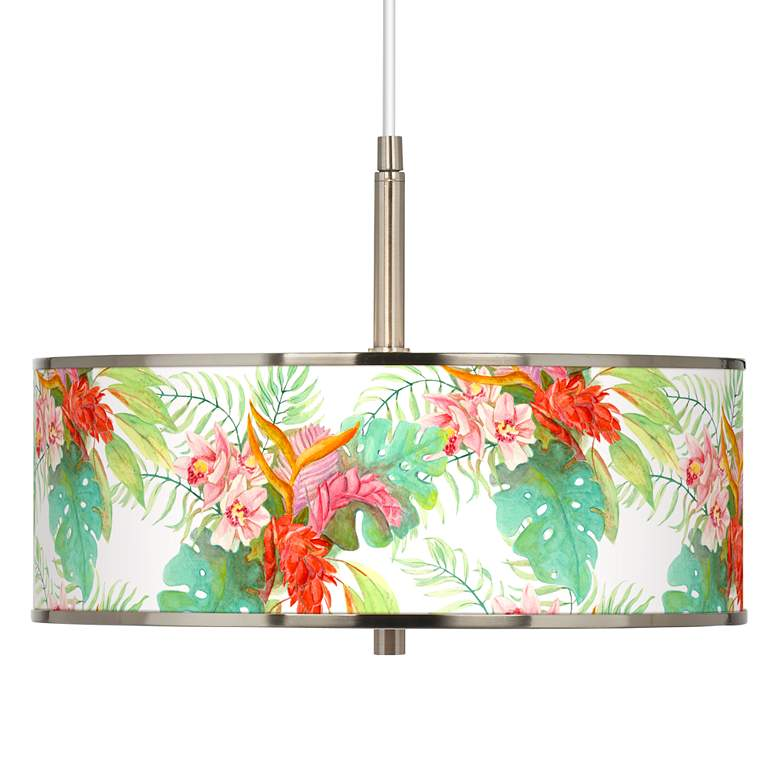 "Island Floral Giclee Glow 16"" Wide Pendant Light"