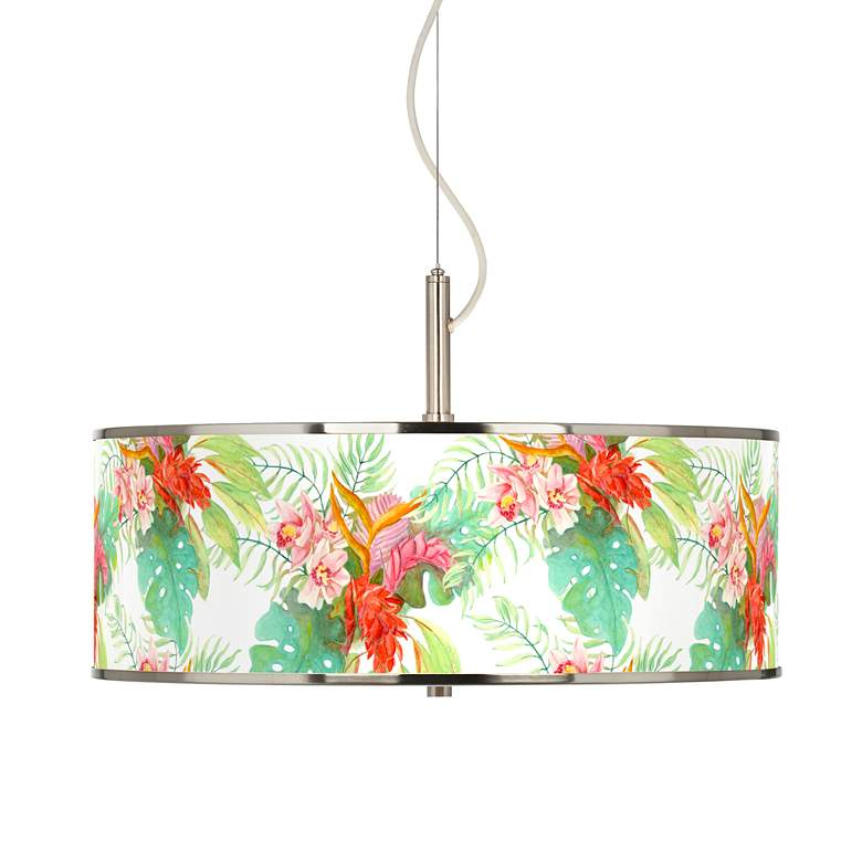 "Island Floral Giclee Glow 20"" Wide Pendant Light"