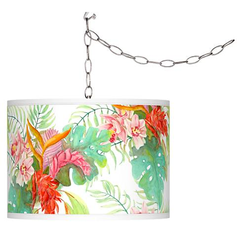 Island Floral Giclee Glow Plug-In Swag Pendant