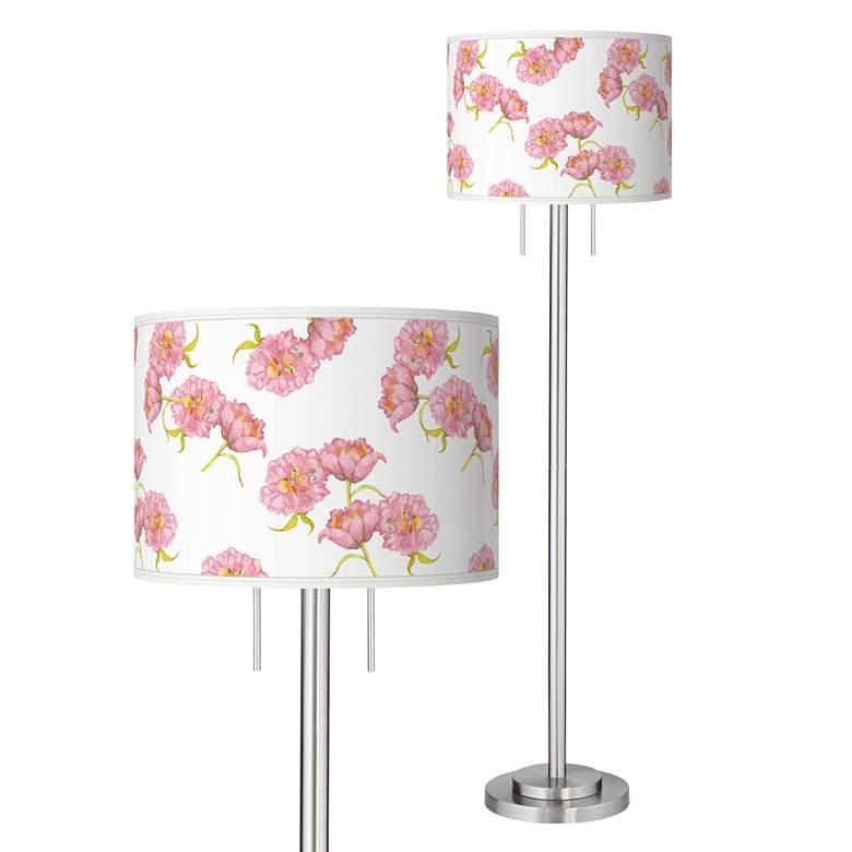 Pretty Peonies Giclee Brushed Nickel Garth Floor Lamp