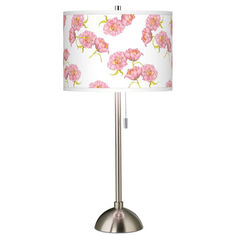 Pretty Peonies Giclee Brushed Nickel Table Lamp