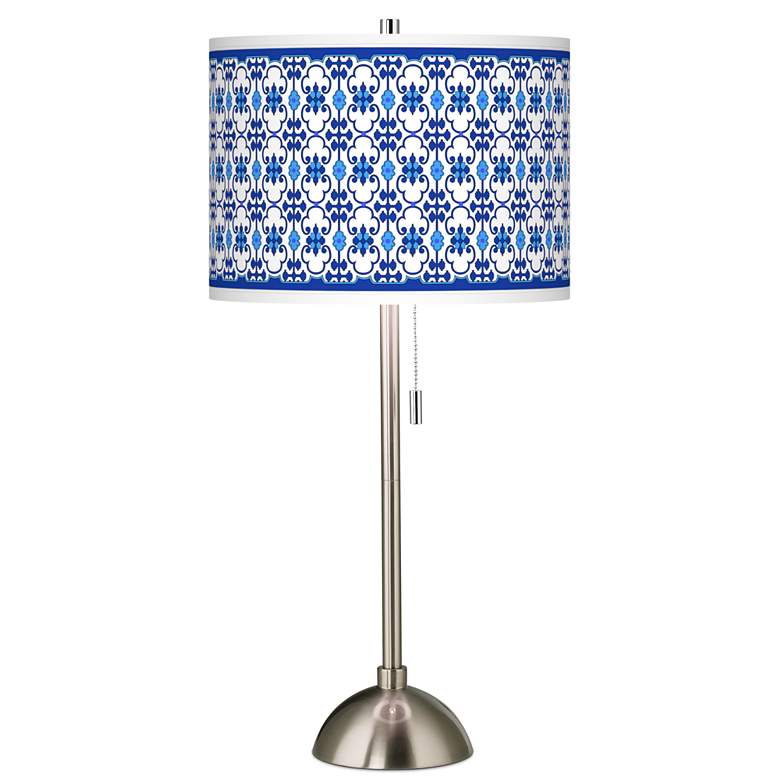 Indigo Path Giclee Brushed Nickel Table Lamp