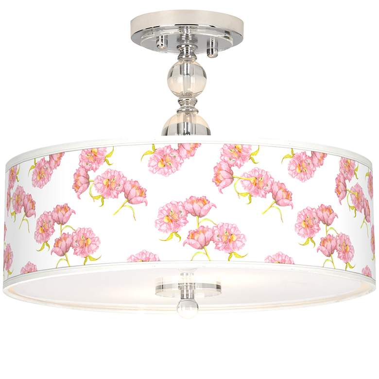"Pretty Peonies Giclee 16"" Wide Semi-Flush Ceiling Light"
