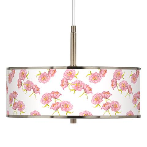 "Pretty Peonies Giclee Glow 16"" Wide Pendant Light"