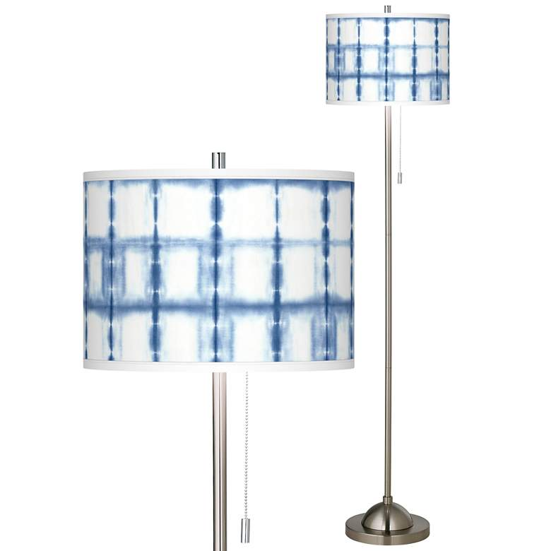 Blue Mist Brushed Nickel Pull Chain Floor Lamp