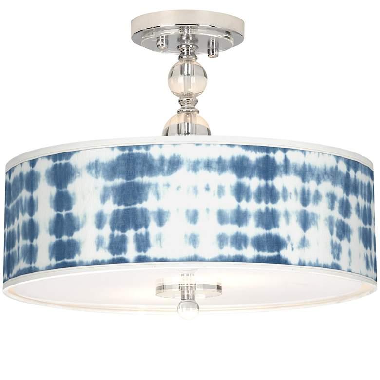 "Shibori Surf Giclee 16"" Wide Semi-Flush Ceiling Light"