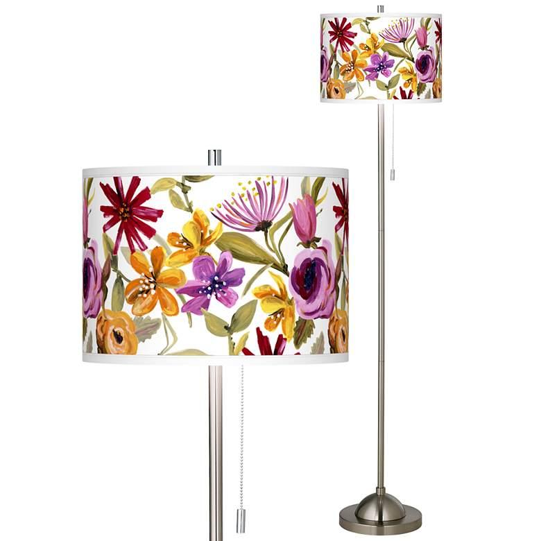 Bountiful Blooms Brushed Nickel Pull Chain Floor Lamp