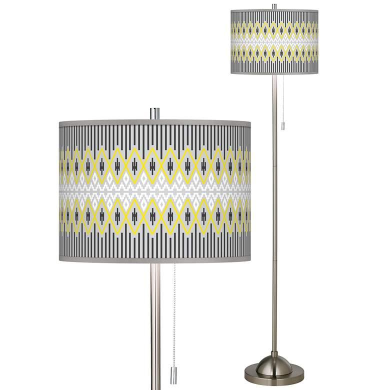 Desert Geometric Brushed Nickel Pull Chain Floor Lamp