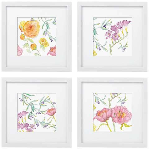 """Set of 4 Spring Garden 14"""" Square White Framed Wall Art"""