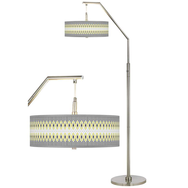Desert Geometric Giclee Shade Arc Floor Lamp