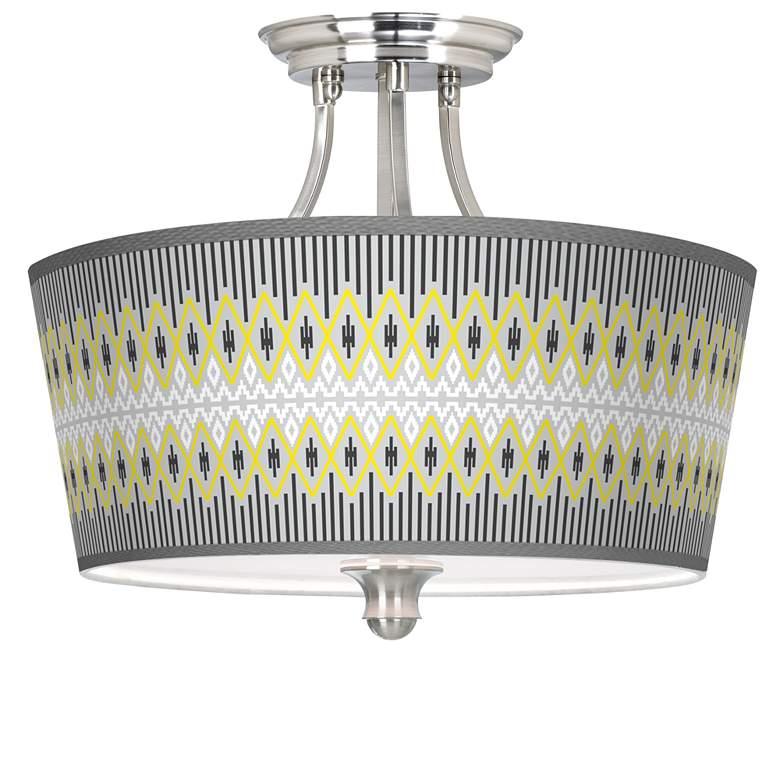 Desert Geometric Tapered Drum Giclee Ceiling Light