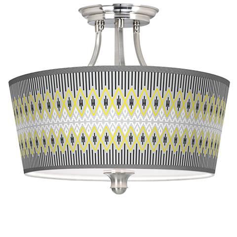 Desert GeometricTapered Drum Giclee Ceiling Light