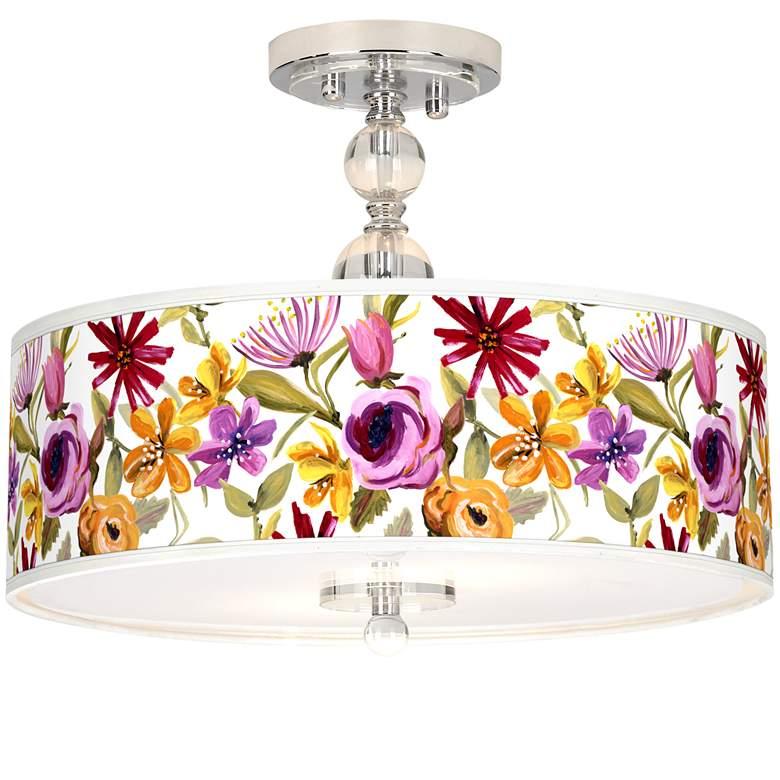 "Bountiful Blooms Giclee 16"" Wide Semi-Flush Ceiling Light"