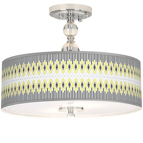 """Desert Geometric Giclee 16"""" Wide Semi-Flush Ceiling Light"""