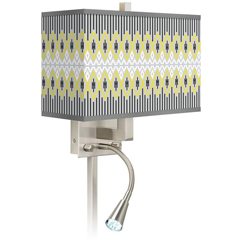 Desert Geometric Giclee Glow LED Reading Light Plug-In Sconce
