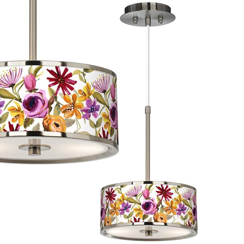 """Bountiful Blooms Giclee Glow 10 1/4"""" Wide Mini Pendant"""