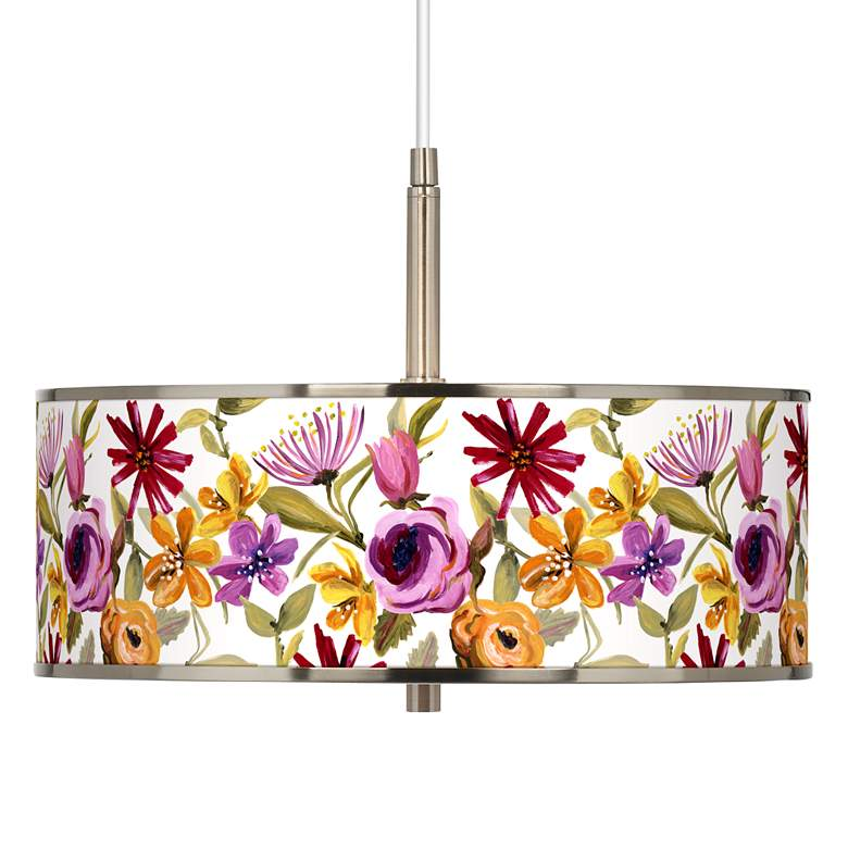 "Bountiful Blooms Giclee Glow 16"" Wide Pendant Light"