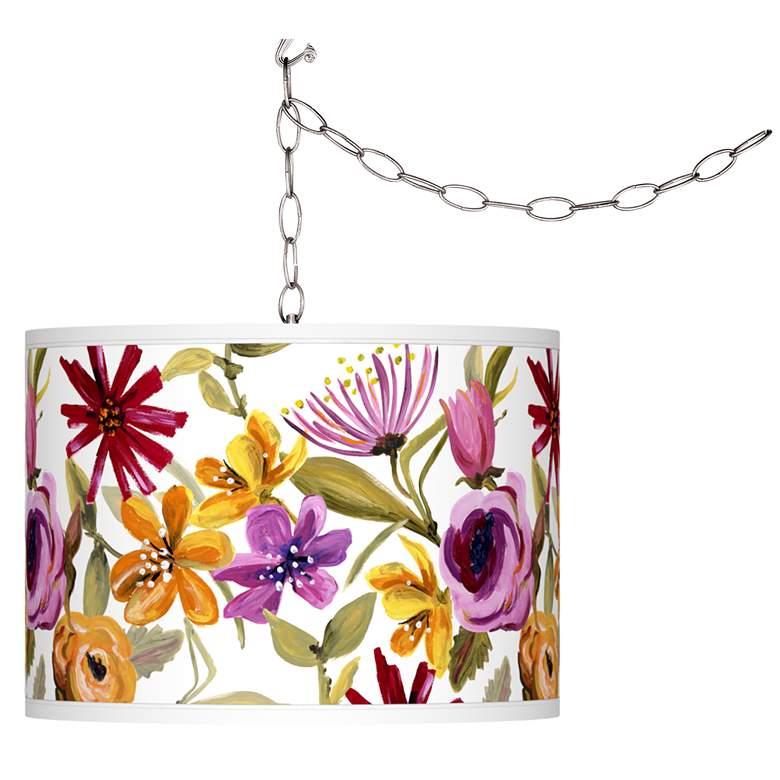 Bountiful Blooms Giclee Glow Plug-In Swag Pendant
