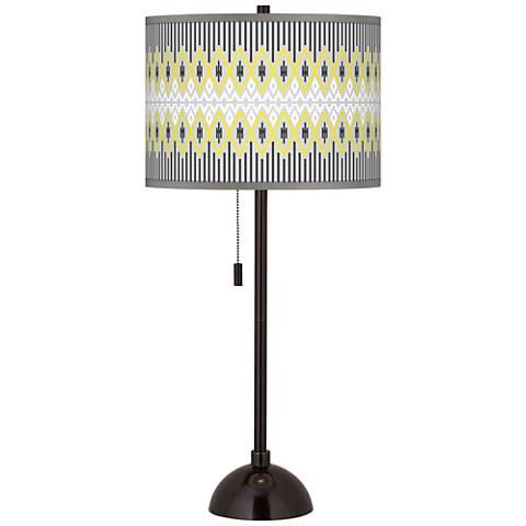Desert Geometric Giclee Glow Tiger Bronze Club Table Lamp