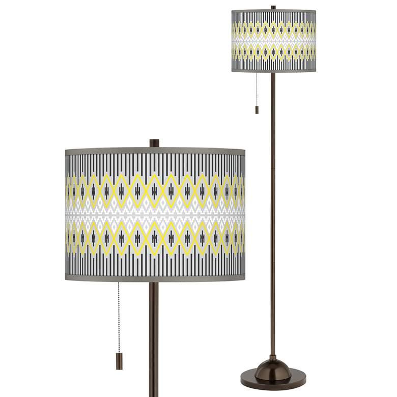 Desert Geometric Giclee Glow Bronze Club Floor Lamp