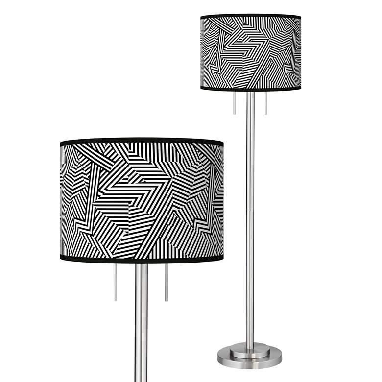 Labyrinth Giclee Brushed Nickel Garth Floor Lamp