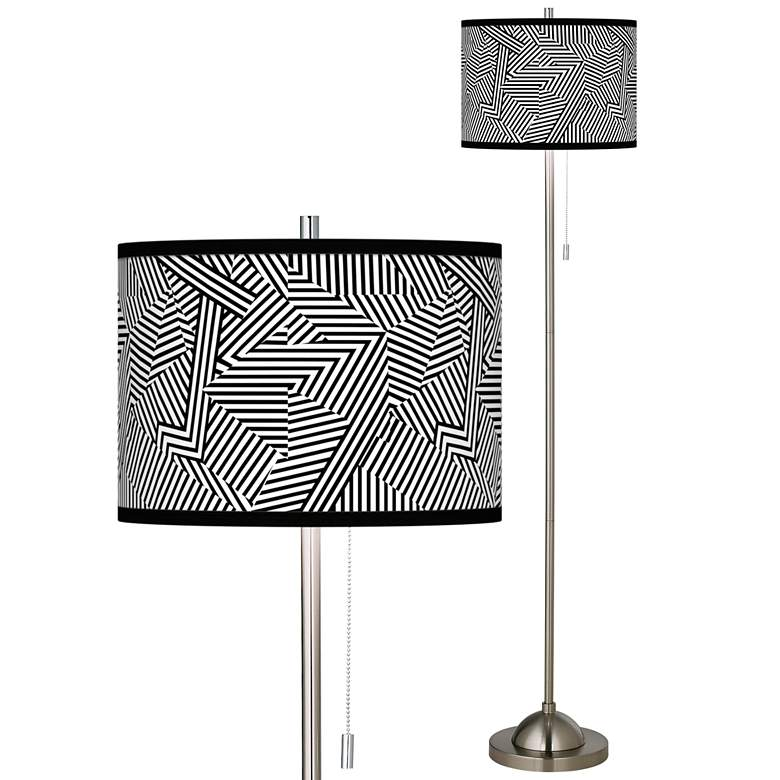 Labyrinth Brushed Nickel Pull Chain Floor Lamp