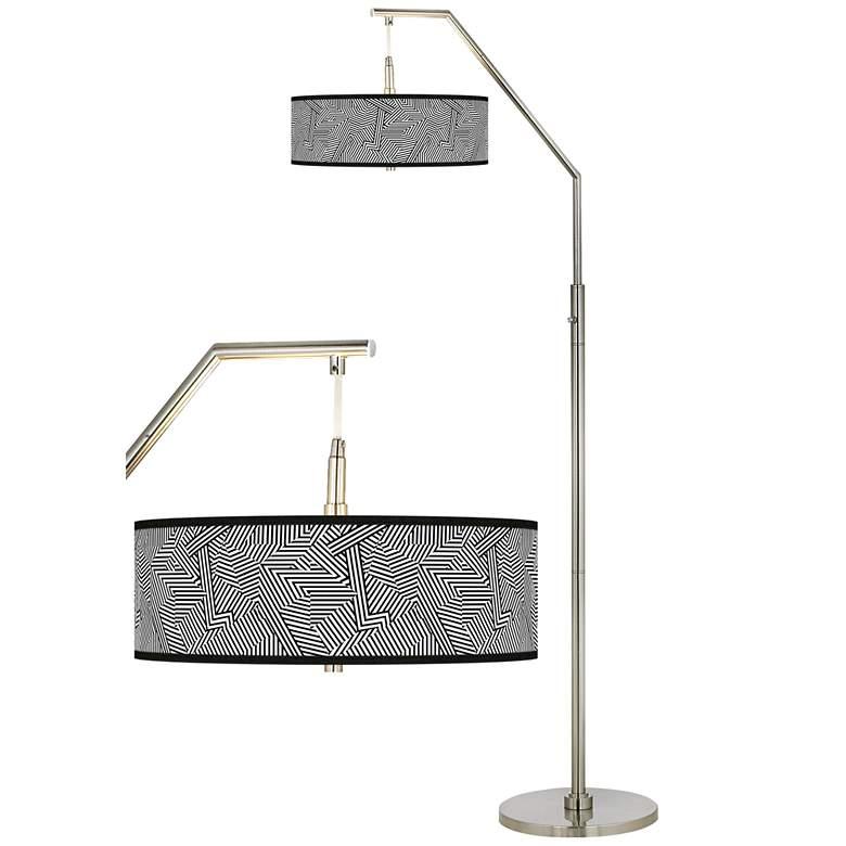 Labyrinth Giclee Shade Arc Floor Lamp