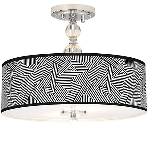 "Labyrinth Giclee 16"" Wide Semi-Flush Ceiling Light"