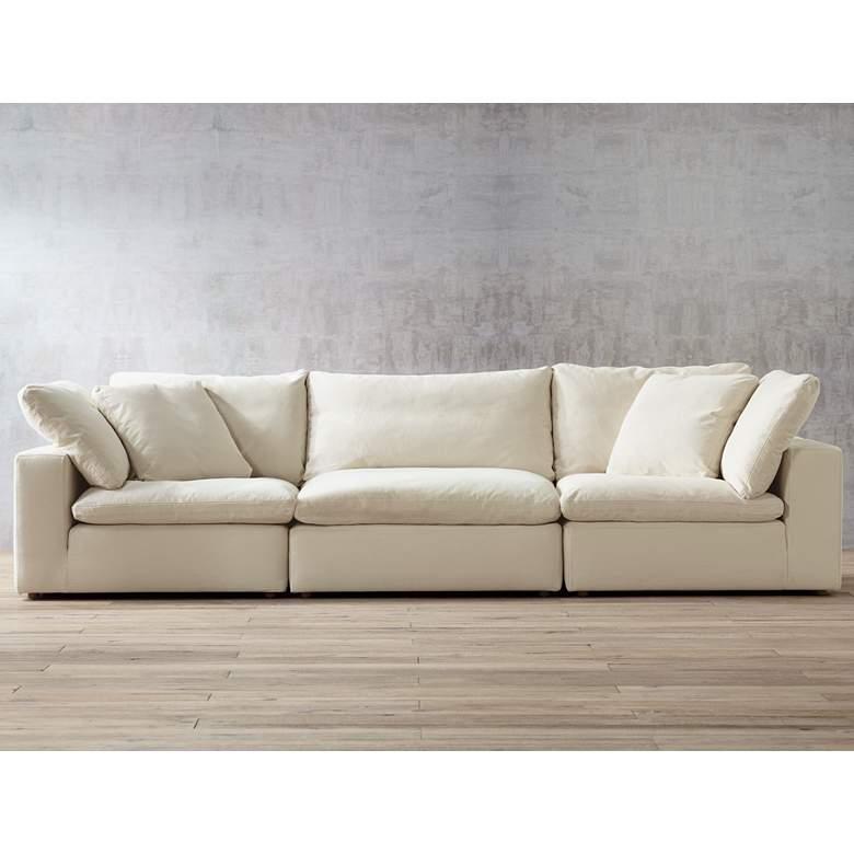 "Skye 125""W Classic Natural Linen 3-Piece Modular Sofa"