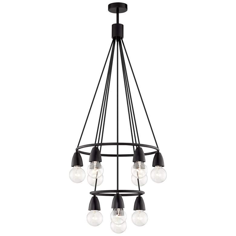 """Rawlings 17"""" Wide Black 10-Light Clear Globe Chandelier"""