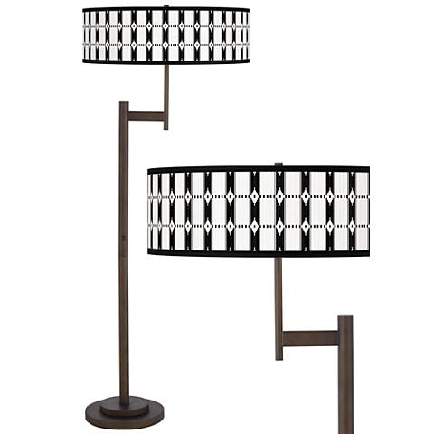 Tribal Weave Giclee Parker Light Blaster™ Bronze Floor Lamp