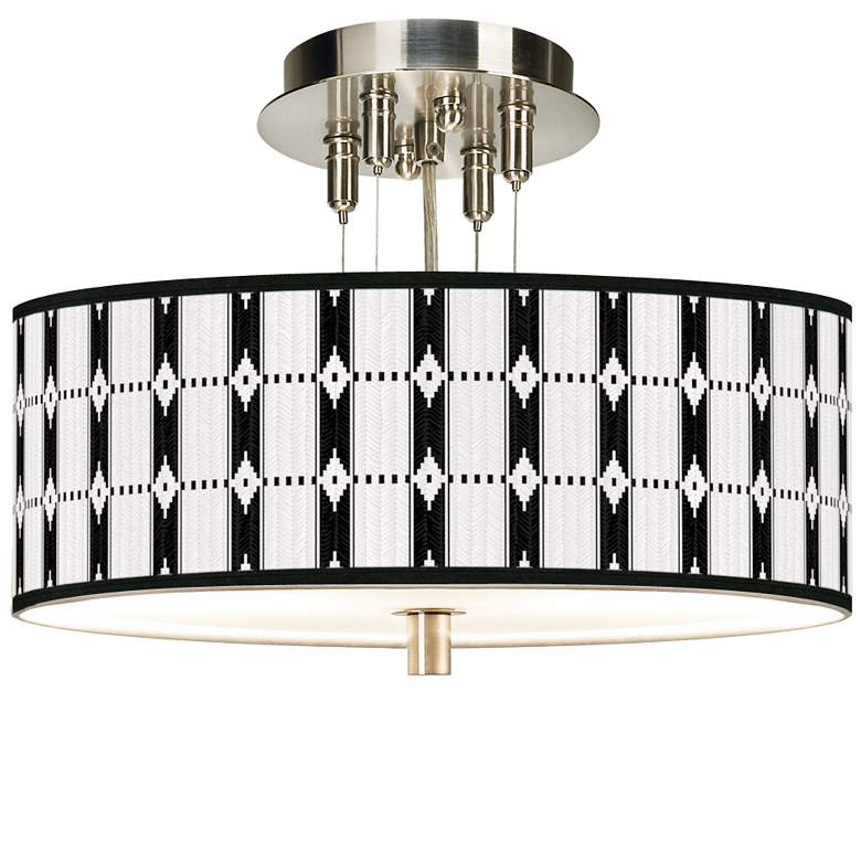 """Tribal Weave Giclee 14"""" Wide Ceiling Light"""