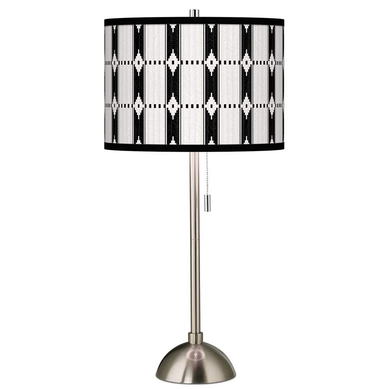 Tribal Weave Giclee Brushed Nickel Table Lamp