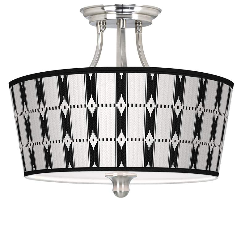 Tribal Weave Tapered Drum Giclee Ceiling Light