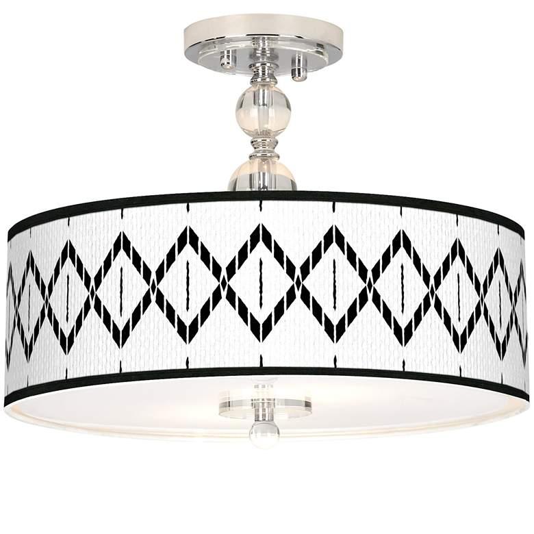 """Paved Desert Giclee 16"""" Wide Semi-Flush Ceiling Light"""