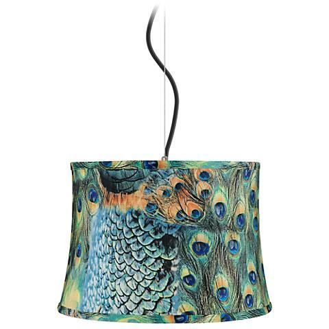 "Peacock Print Shade 16"" Wide Pendant Light"