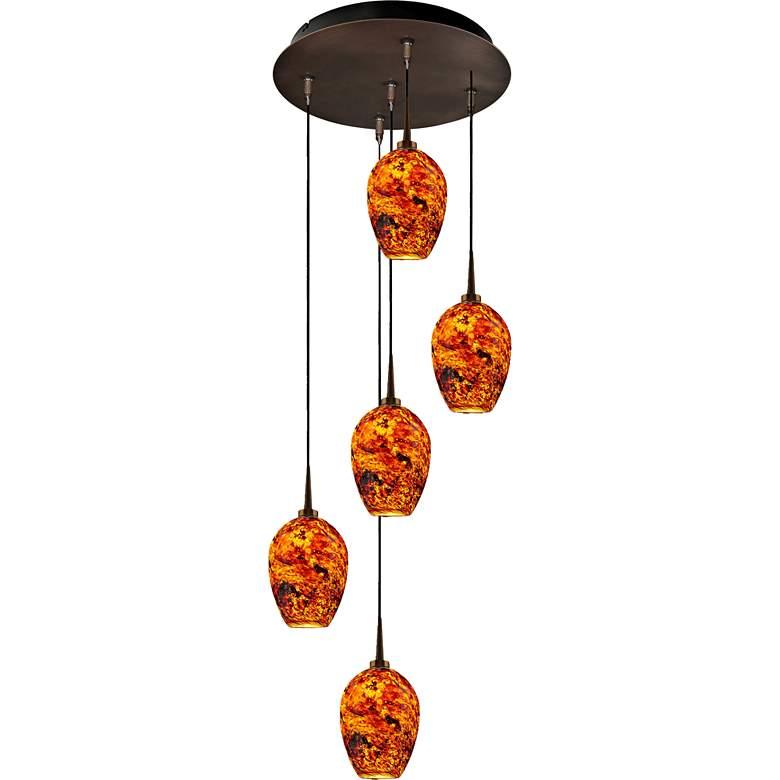 """Bolero 4 1/2"""" Wide Autumn Leaf Glass LED Mini Pendant"""