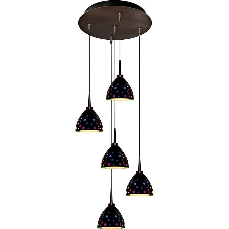 "Rainbow 4 1/2"" Wide Black Retro Glass LED Mini Pendant"