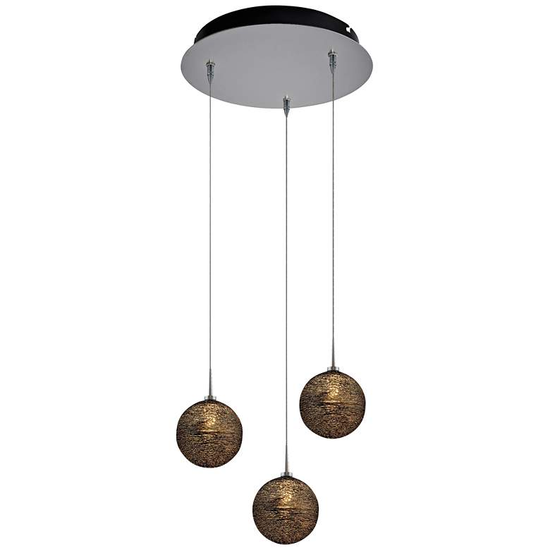 "Dazzle 6"" Wide Black Glass LED Multi Light Pendant"