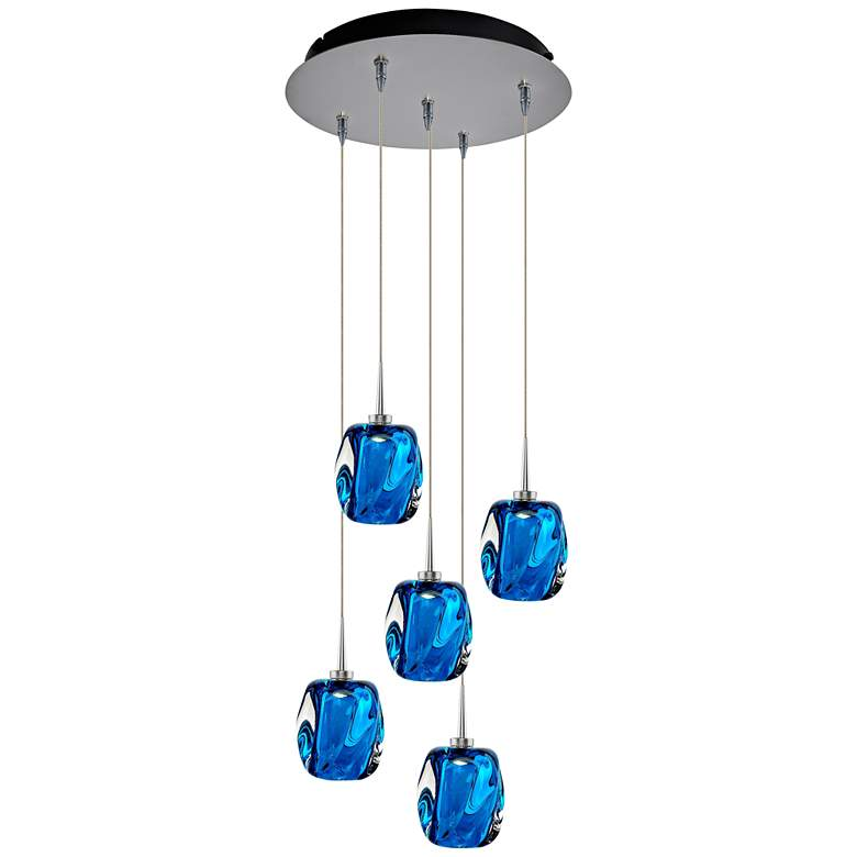 "Aurora 4 1/2"" Wide Blue Glass LED Multi Light Pendant"